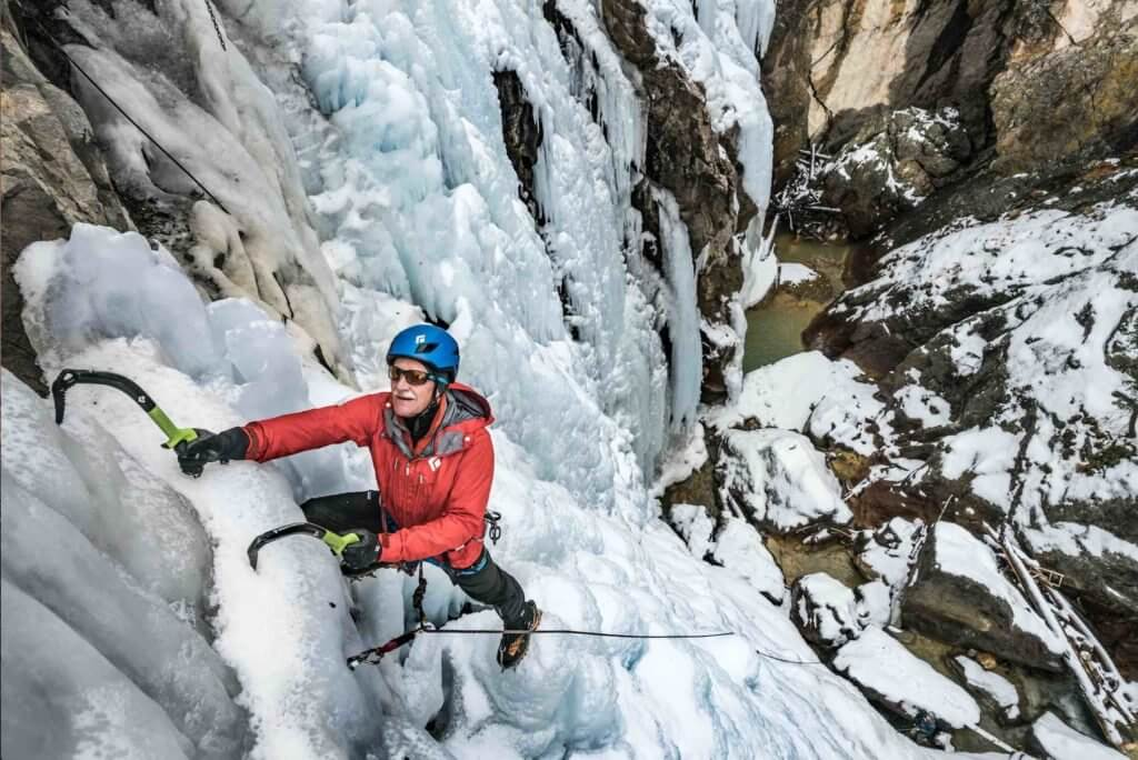 Ralph Tingey, a member of the Ouray Ice Park Board of Directors, climbs in the park • Photo courtesy of Ouray Ice Park