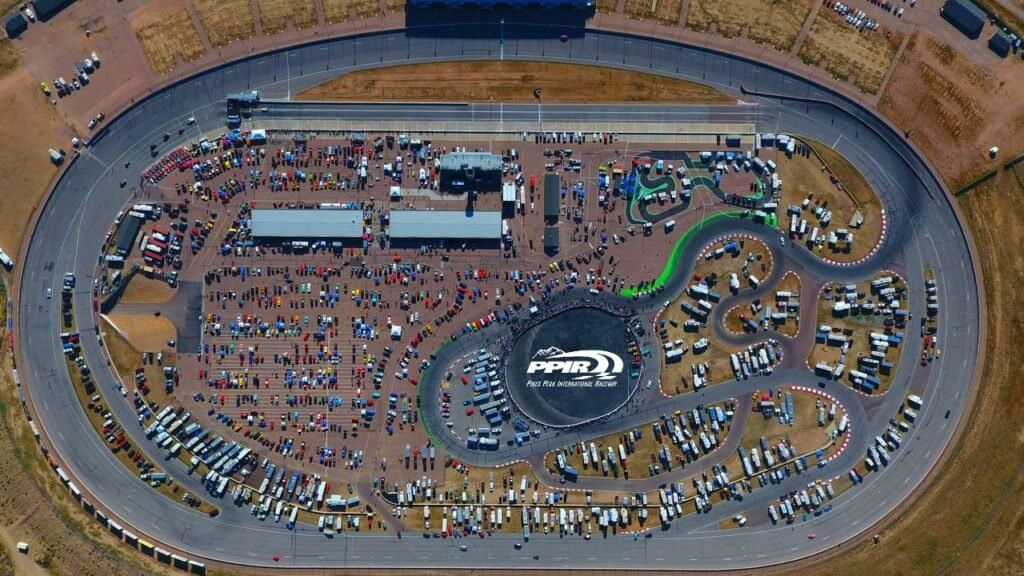 An aerial view of Hot Rod Rock & Rumble, Colorado's largest rockabilly festival. • Photo Courtesy of Pikes Peak International Raceway