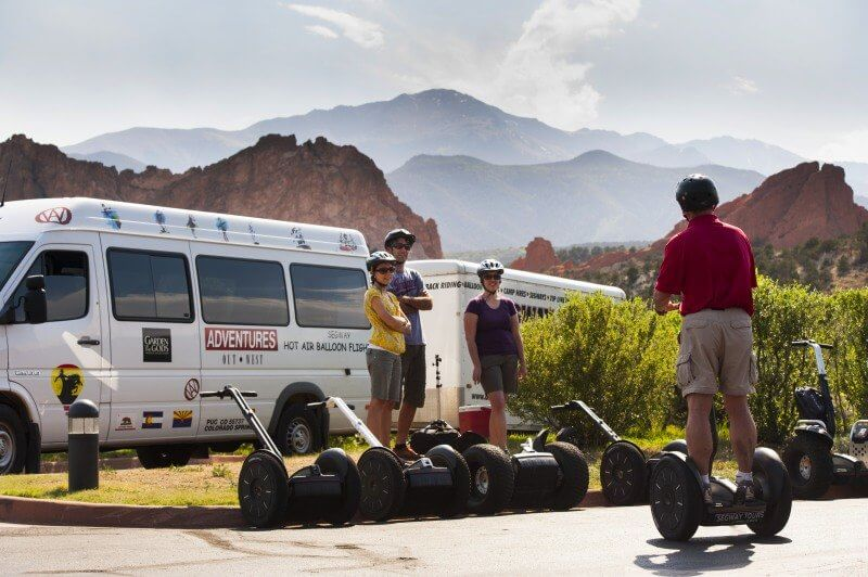 Adventures Out West leads a Segway Training session at Garden of the Gods  •  Photo courtesy of Adventures Out West