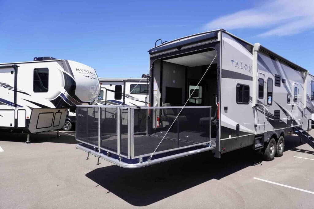 "Exterior of a Jayco Talon ""Toy Hauler"" • Photo courtesy of Windish RV Center"