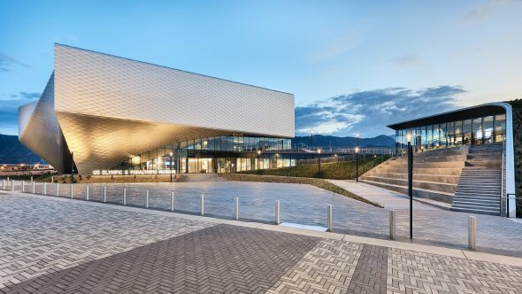 The US Olympic and Paralympic Museum is an architectural wonder, adding a dynamic impact to the Colorado Springs skyline. Photo ny Richard Seldomridge